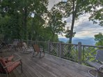 The wraparound deck provides spectacular views of the surrounding mountains.