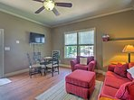 Relax on the plush couch and watch a movie on the flat-screen cable TV.