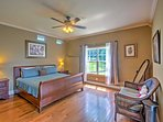 The bedroom provides restful nights of sleep with a plush king bed.