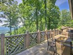 The wraparound deck offers comfortable seating with spectacular views.