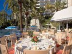 Summer dining by the pool,