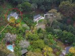 Aerial view of the Estate  Mt Cottage is circled  Two other cottages on the Estate for holiday renta