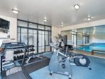 The gym is just off the foyer