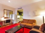Modern, cosy lounge. Cable TV with sport and movies and  high-speed unlimited wiFi are included.