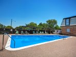 Recline in the chairs on the pool deck and enjoy the sun during your Amarillo vacation!