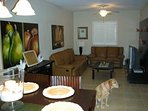 View of the downstairs dinning room and 2nd family room with TV.