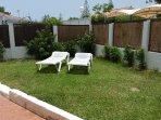 Garden with sunloungers