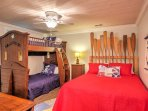 Kids will love sleeping in this room, offering a full-sized bed and a twin-over-twin bunk bed.