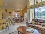 The open concept floor plan allows for you to mingle freely with guests or keep an eye on the children.