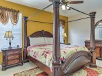 The king master suite features its own large private bathroom.