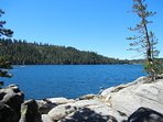 Lake Alpine just past Bear Valley on Hwy 4 is our favorite spot to cool off on warm summer days.