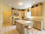 This fully-equipped kitchen with stainless steel appliances is perfect for preparing a favorite meal for the group.