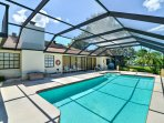 The solar heated, self cleaning pool is 14'x 30' with an additional Jacuzzi at one end and a swim-out on the other.