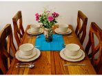 Dining table with beautiful crockery
