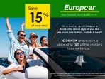 Save on Europcar across New Zealand, Australia & UK wide after you've booked with us.