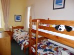 THE 3RD BEDROOM, CHILDRENS FAVOURITE, FULL SIZE BUNK BEDS AND A FULL SIZE SINGLE