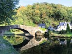 The old medieval toll bridge on the Rance