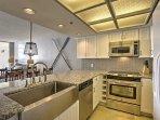 Granite countertops complete the kitchen.