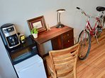 Convenient Amenities: Mini Fridge, Microwave and Coffee Maker with a Desk