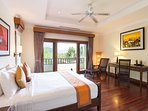 Master Bedroom 1 (45m2) and its balcony with direct access to pool