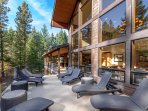 Gather a group of up to 18 to enjoy these scenic wooded views from the deck.