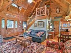 You'll find rustic decor throughout the cabin.