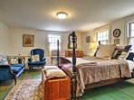 Two guests will sleep comfortably in the first bedroom, which boasts a queen-sized bed.