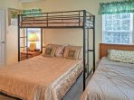 There is a twin-sized bed in the second bedroom as well as a twin-over-queen bunk bed.