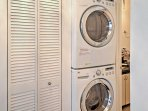 Keep your clothes clean during your stay with the in-unit laundry machines.