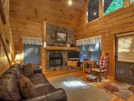 Rustic decor welcomes you into your woodland home.