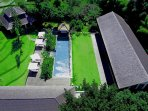 the villa view with drone