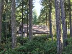 Wooded area makes the home feel like it's nestled in the woods.