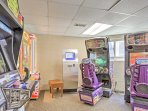 Kids will love playing games in the arcade room.