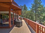 The spacious deck spans the whole house.