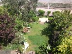 Birds eye view of how the garden leads down to prom and beach.