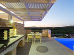 Villa I-Another aspect of the BBQ facilities at sunset!