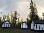 Beautiful rainbow over the cabins
