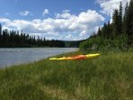 Kayaking down Saskatchewan River - about a 30 minute drive from us