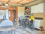 Bikes, boogie boards, and a charcoal grill are also provided with the home.