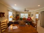 Large living area and dining area for guests to enjoy time together.