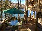Downstairs side deck overlooking Lake Glenville