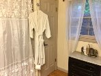 Brand new bathroom with guest robes for all!!