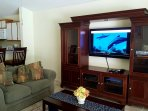 Family/Living room with large entertainment center and 46' SONY Internet/enabled TV