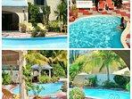 Salon de jardin , transat et kiosque autour de la piscine pour une pause détente