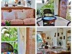Cuisine ouverte et salon donnant sur terrasse individuelle  Bungalow 1er étage