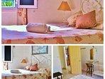 Chambre lit double lumineuse et lit bébé , lits jumeaux  Bungalow 1er étage