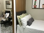 Cushion headboard, Cotton quilted Euro sham and soft pillows. Have a restful sleep!
