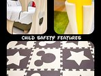 Child safety mirror, edge protector and rubber mat