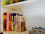 Cookery books in kitchen