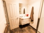 New sparkling clean ensuite.  Fluffy towels & Molton Brown toiletries provided